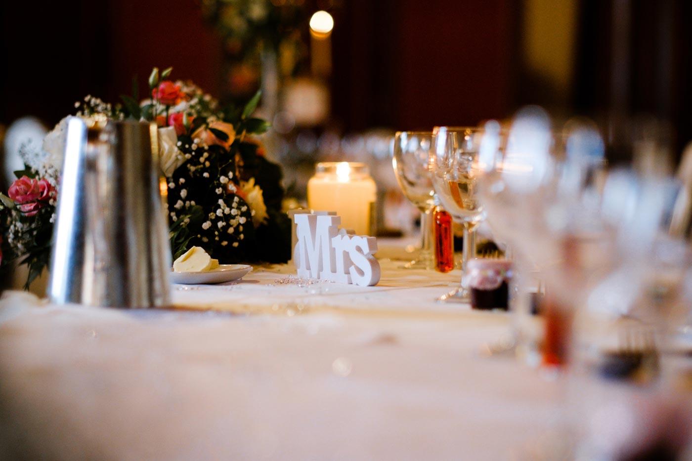 Closeup of table decoration at an Ettington Park Hotel wedding