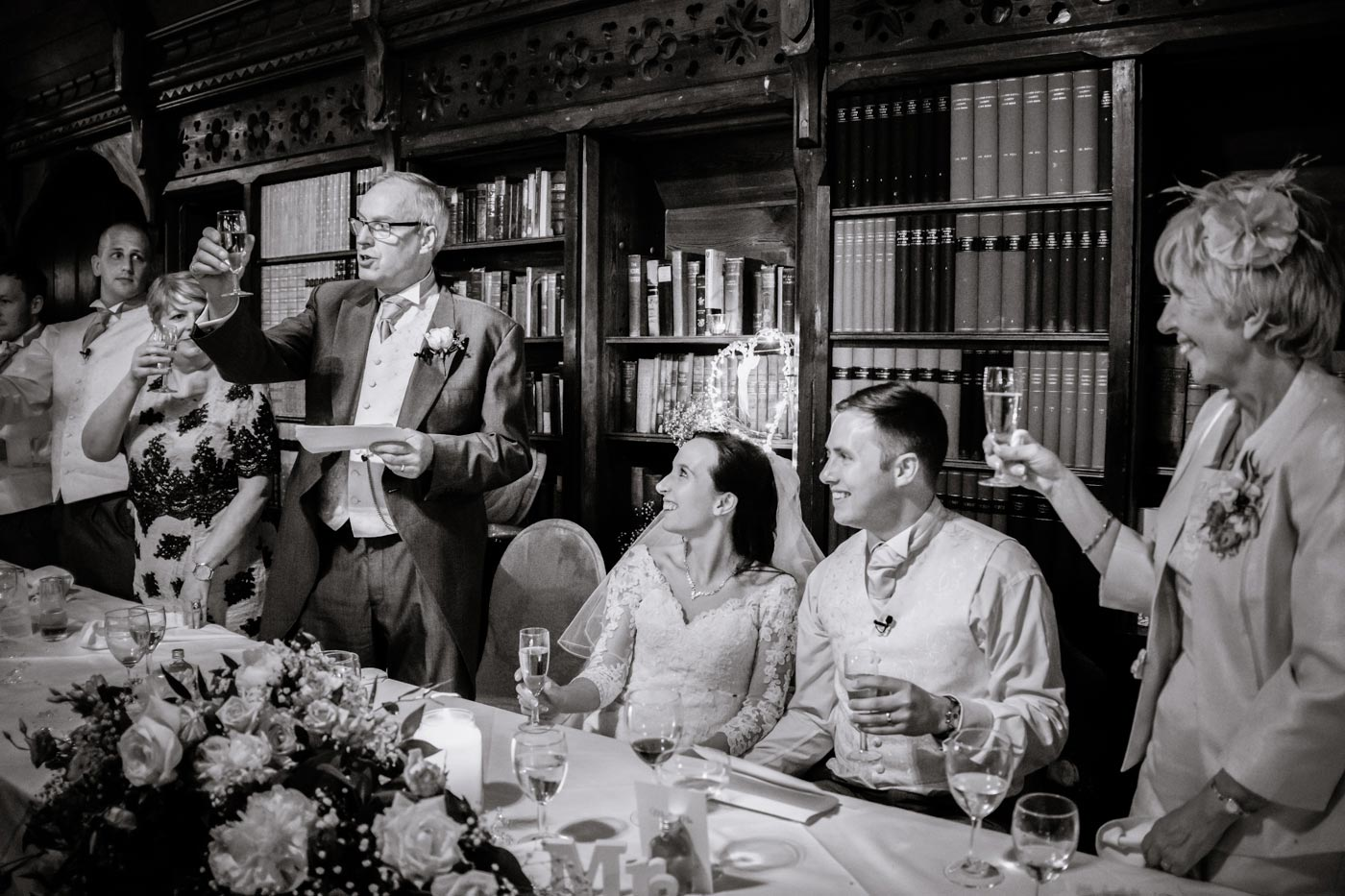 Father of bride giving toast during his speech