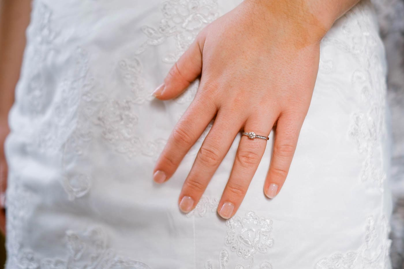Close-up of brides's engagement ring