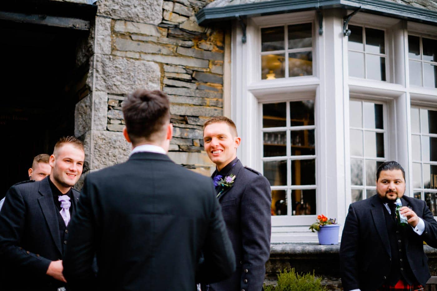 Scottish groom before his wedding ceremony outside Broadoaks Country house