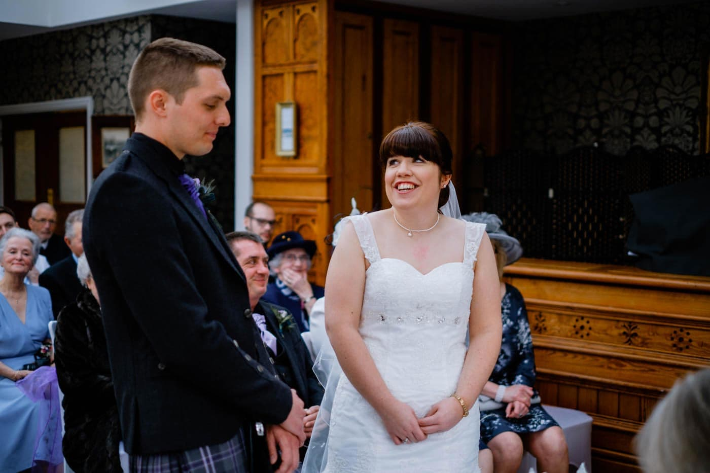 Scottish bride and groom during their wedding ceremony at Broadoaks Country House by Lake District wedding photographer Clive Blair Photography