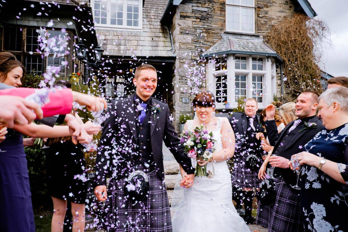 Confetti outside Broadoaks Country House