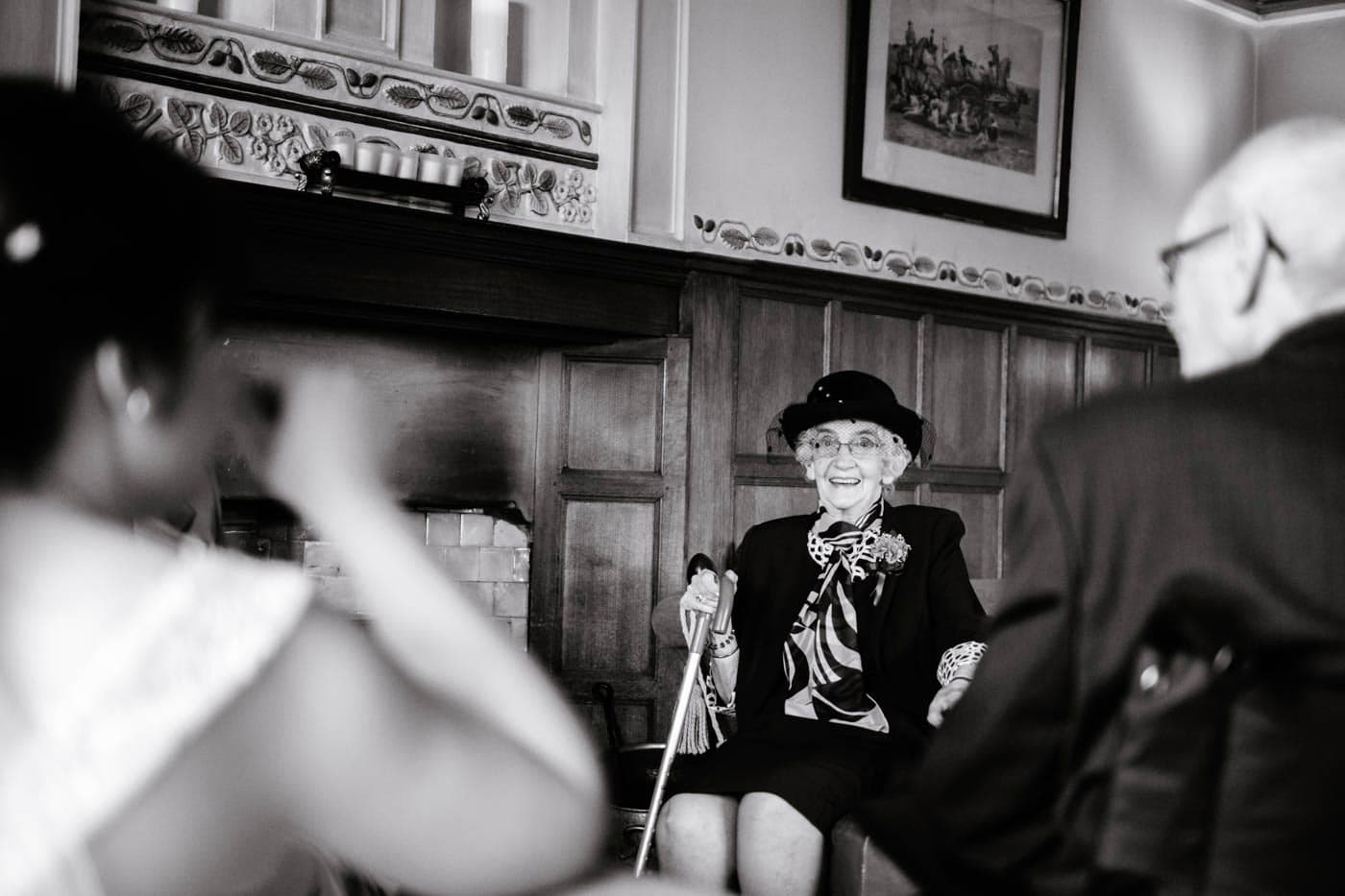 Elderly guest inside Broadoaks Country House after the wedding ceremony