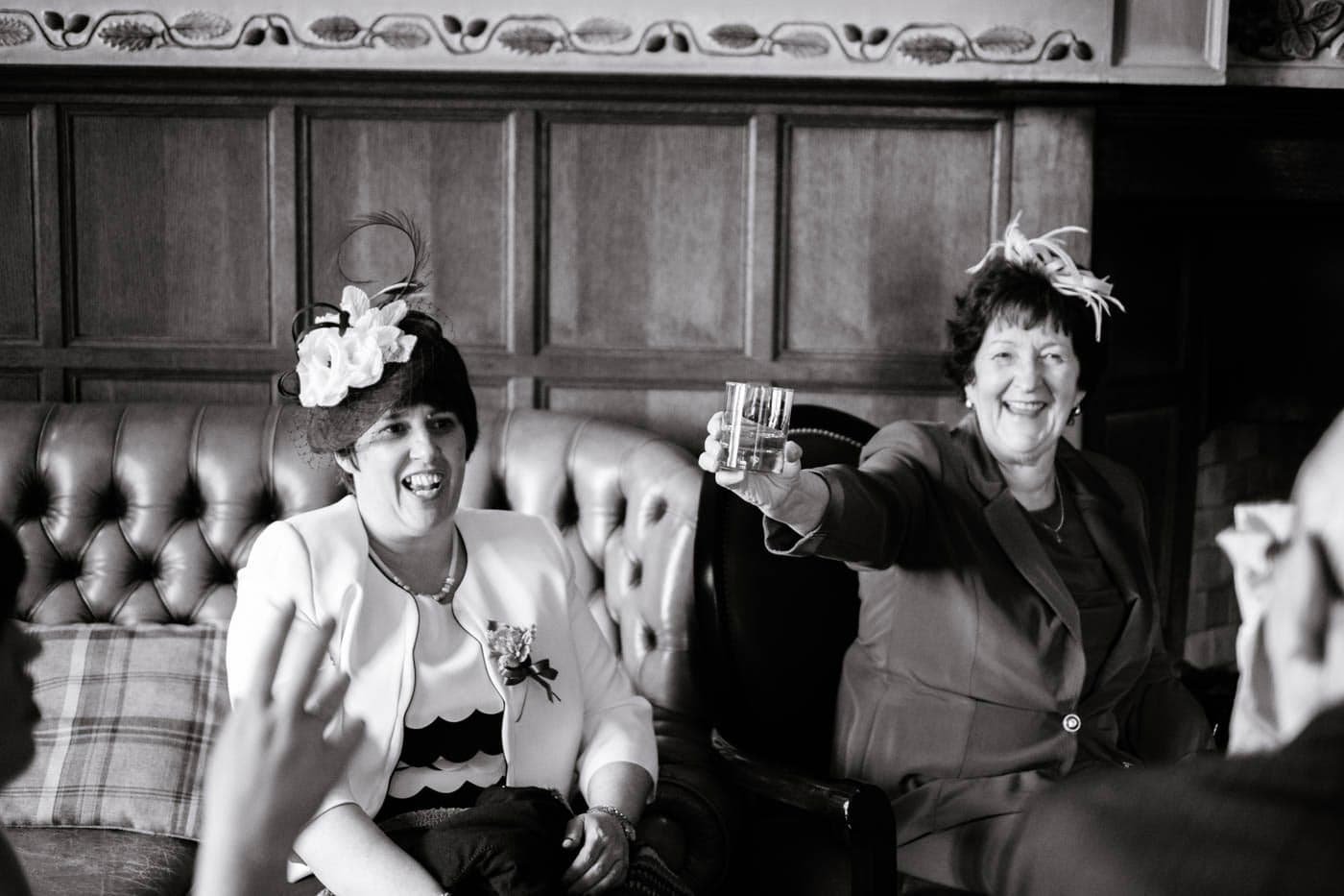 Happy ladies after wedding ceremony