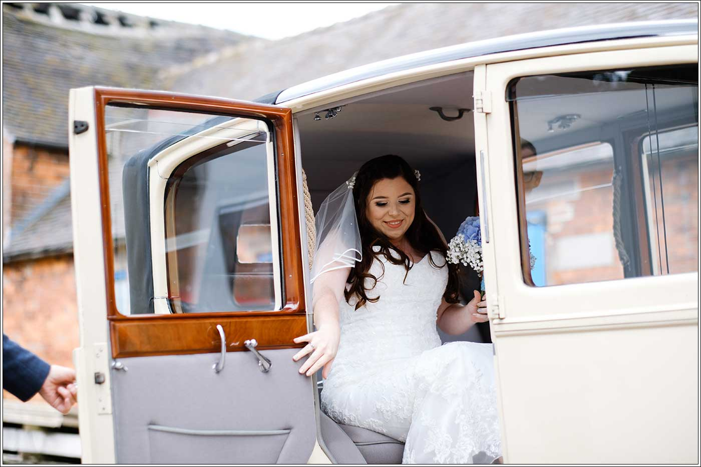 Bride arriving at her Park Hall Farm wedding