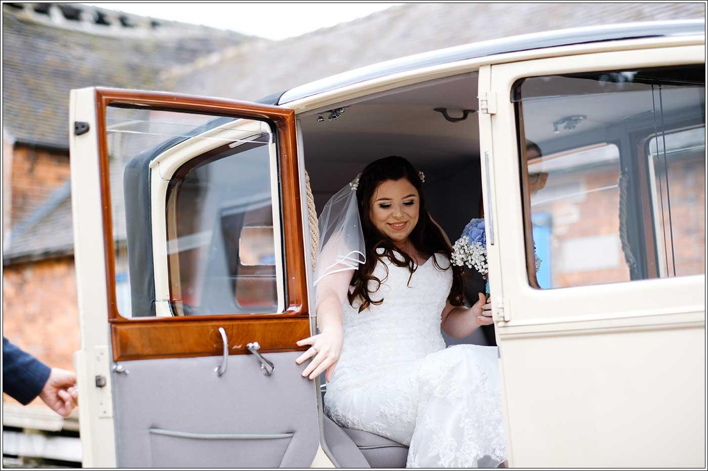 Bride arriving at her Park Hall Farm wedding