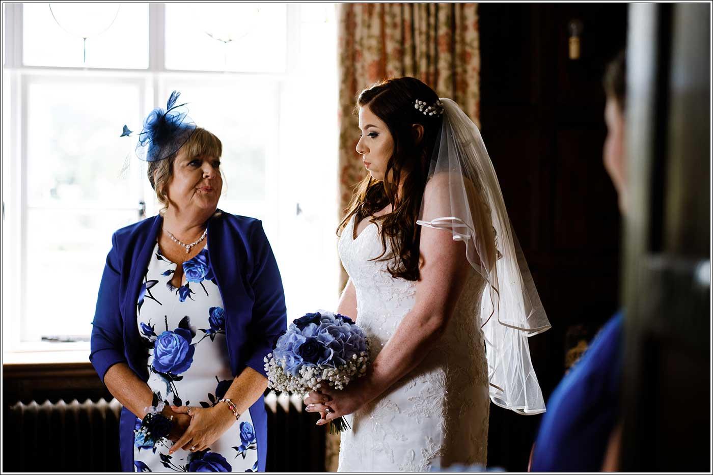 Nervous bride before her Park Hall Farm wedding