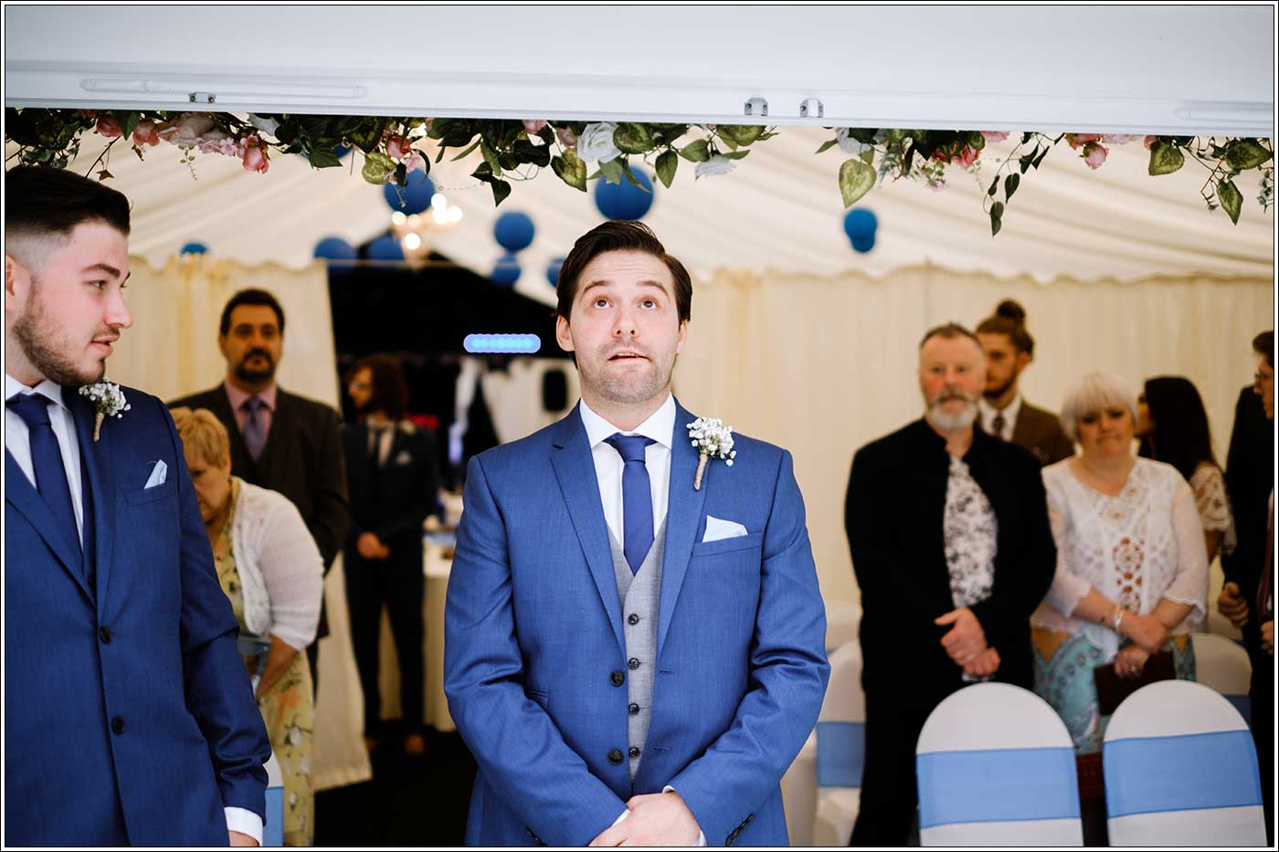 Nevous groom before his Park Hall Farm wedding