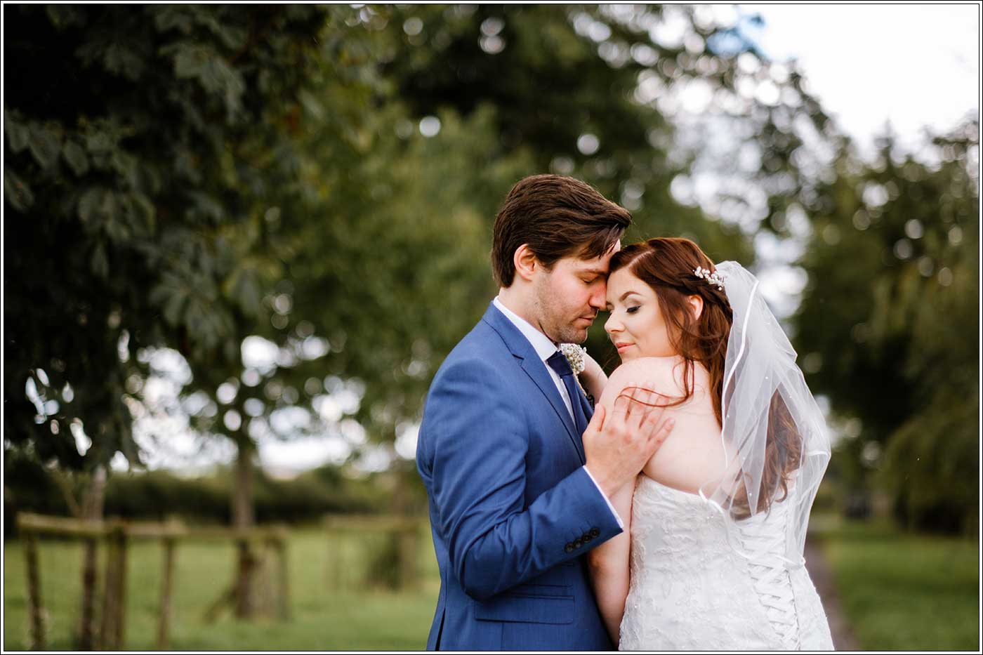Groom and bride together at Park Hall Farm