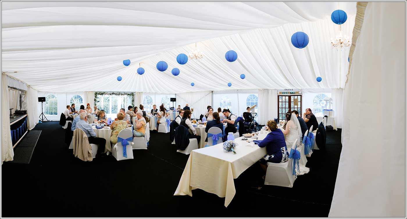 View of inside wedding marquee at Park Hall Farm
