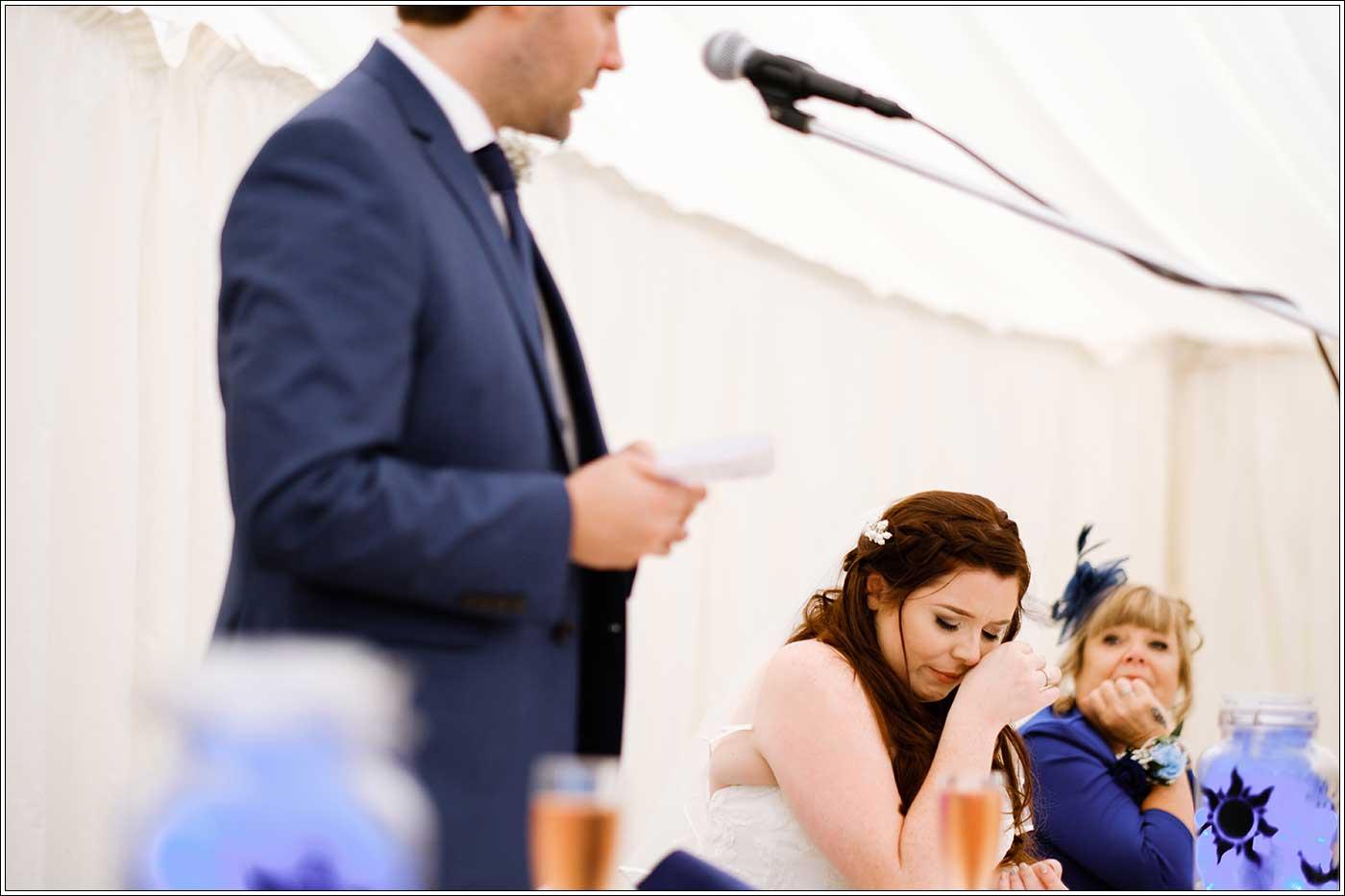 Bride in tears during groom's speech