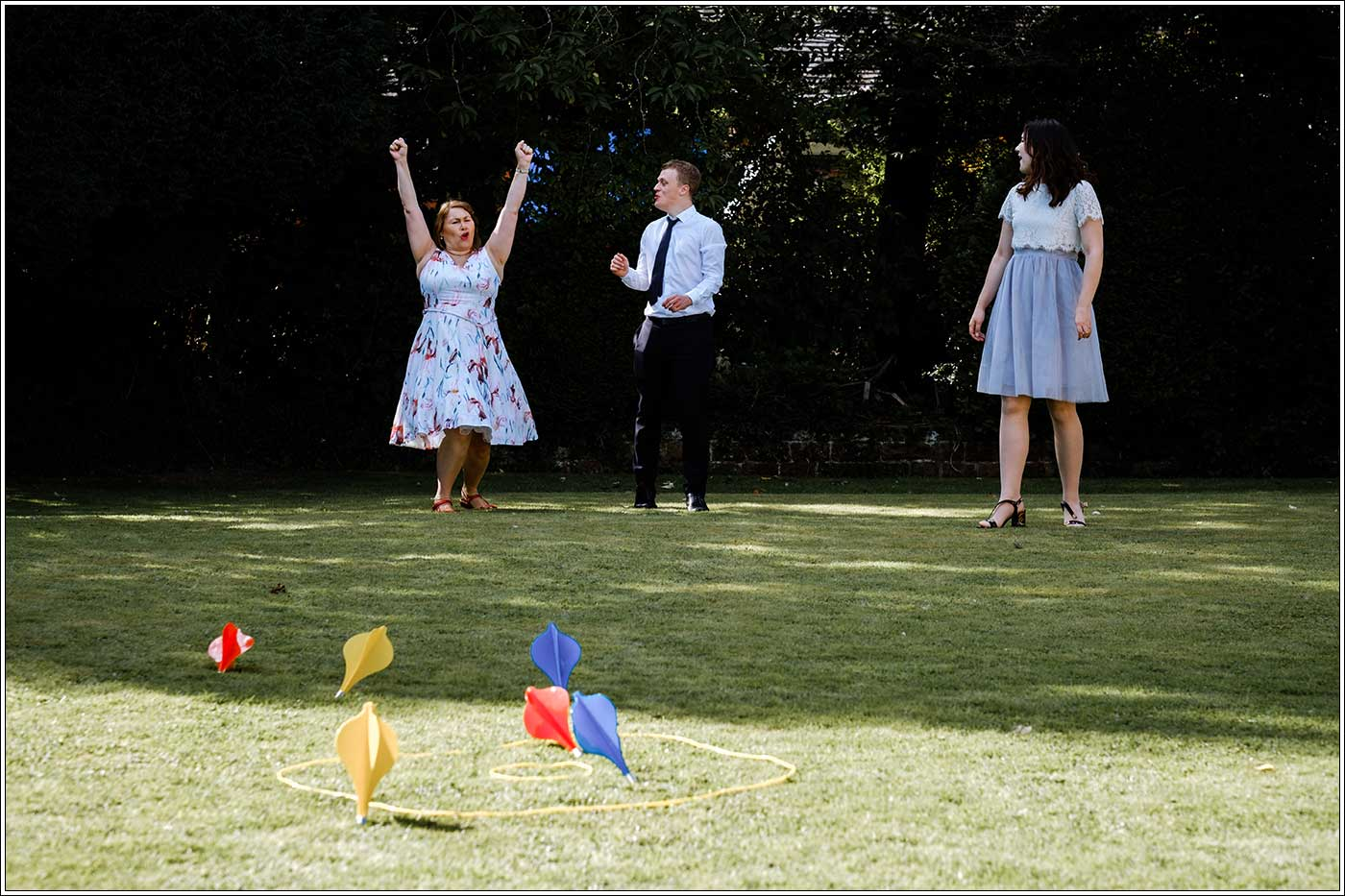 Guests playing garden games at Park Hall Farm