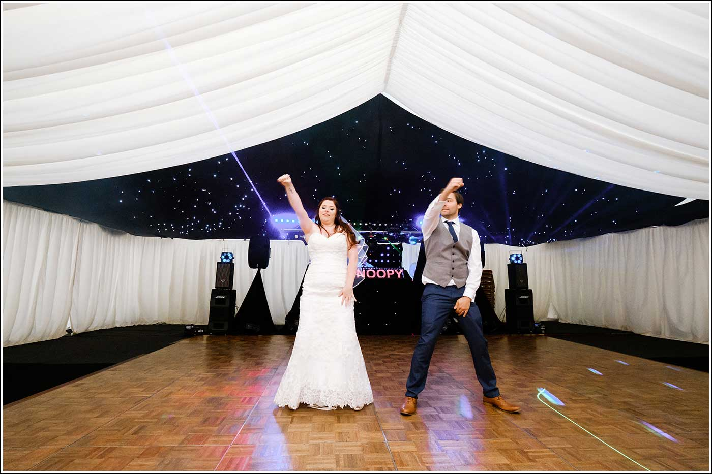 Groom and bride's first dance during their Park Hall Farm wedding by documentary wedding photographer Birmingham Clive Blair Pphotography