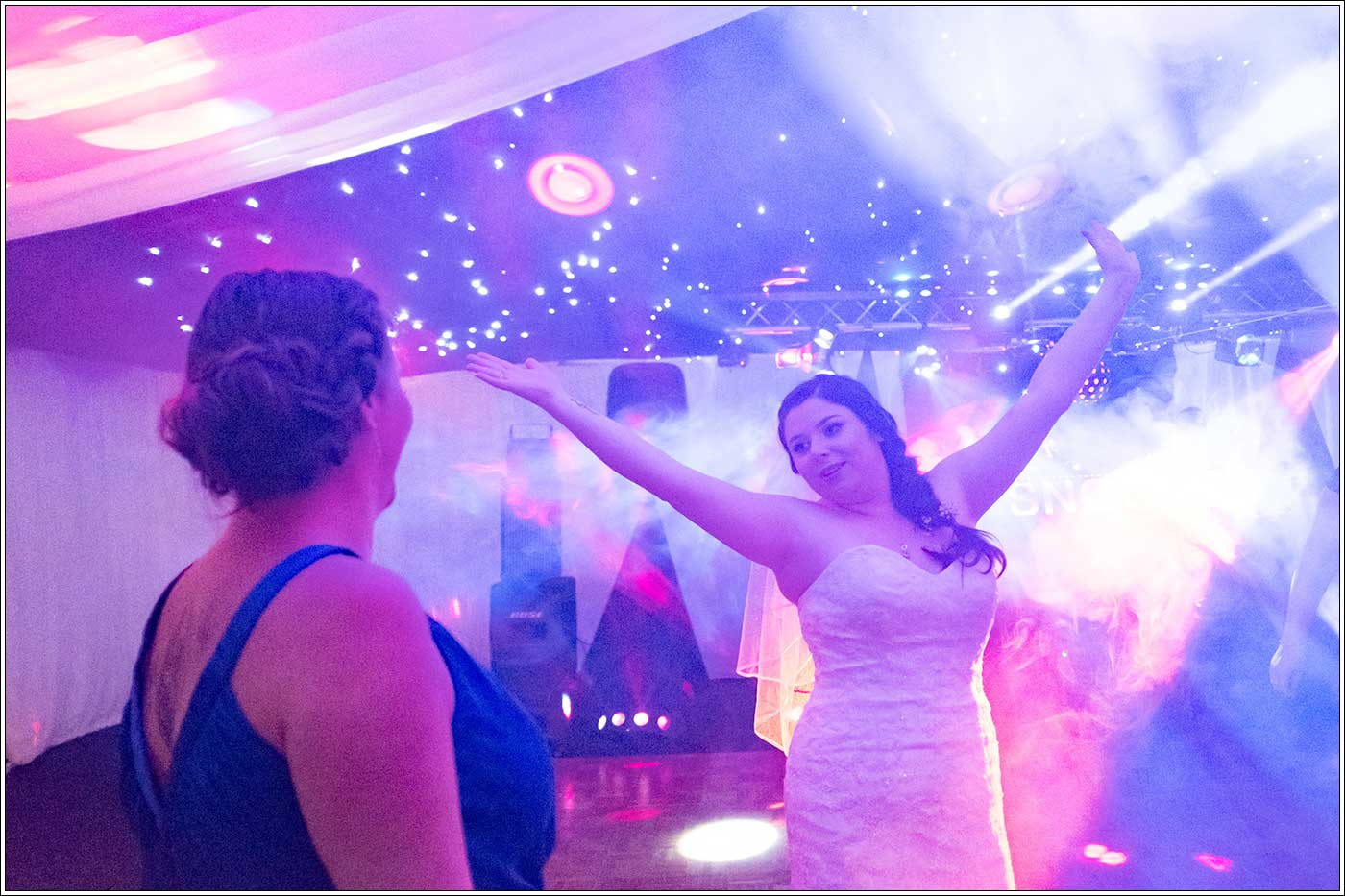 Bride on dancefloor during her Park Hall Farm wedding
