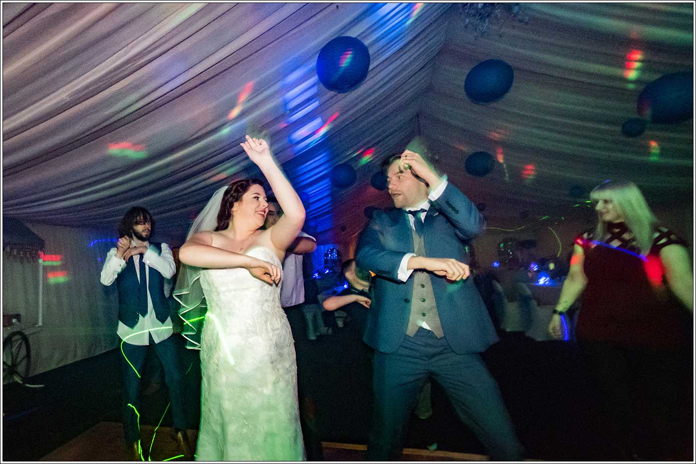 Bride and groom dancing at Park Hall Farm