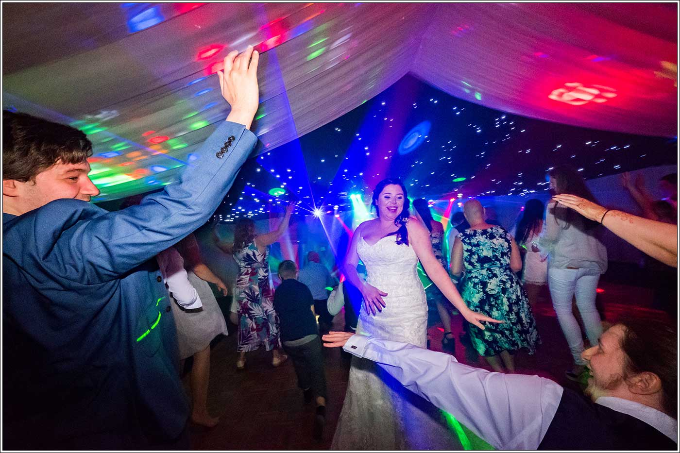 Bride and guest on dancefloor at Park Hall Farm