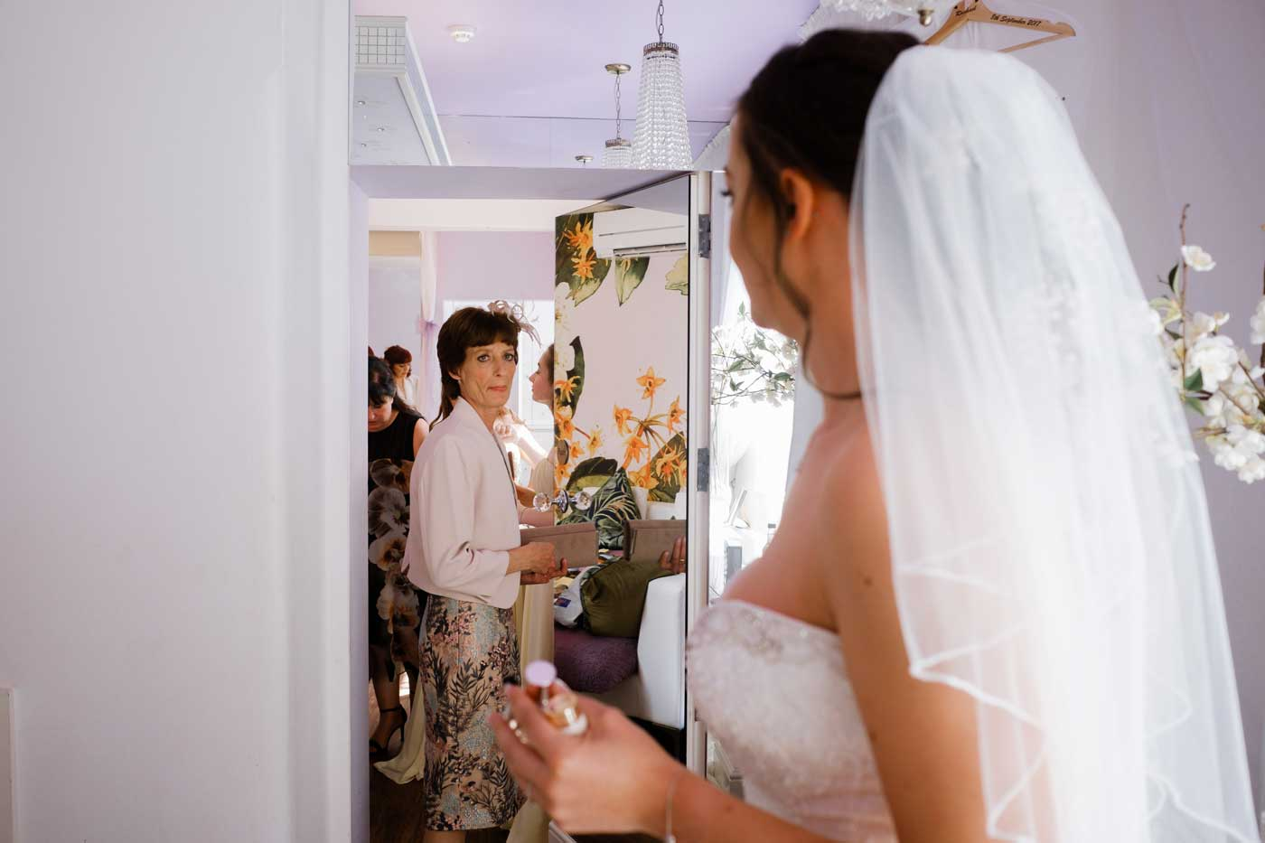 Bride's mother last look before leaving for the wedding ceremony at Rowton Castle