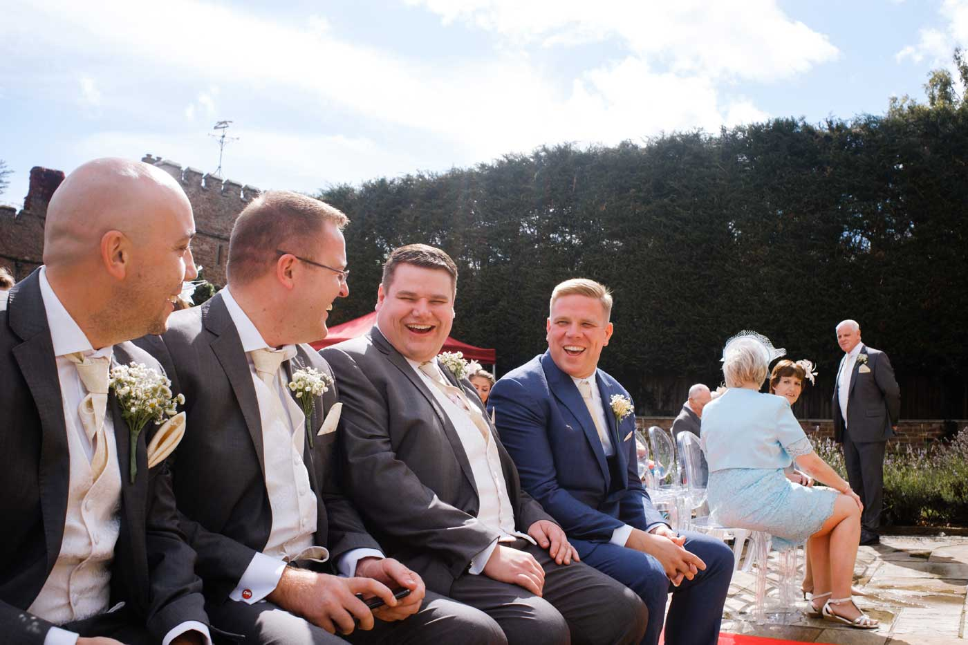 Groom with his men at Rowton Castle by documentary wedding photographer Clive Blair