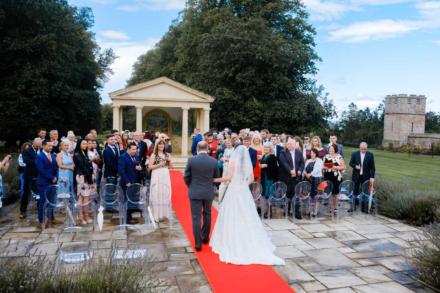 Bride arring at The Linden Belvedere at Rowton Castle by Rowton Castle documentray wedding photographer Clive Blair Photography
