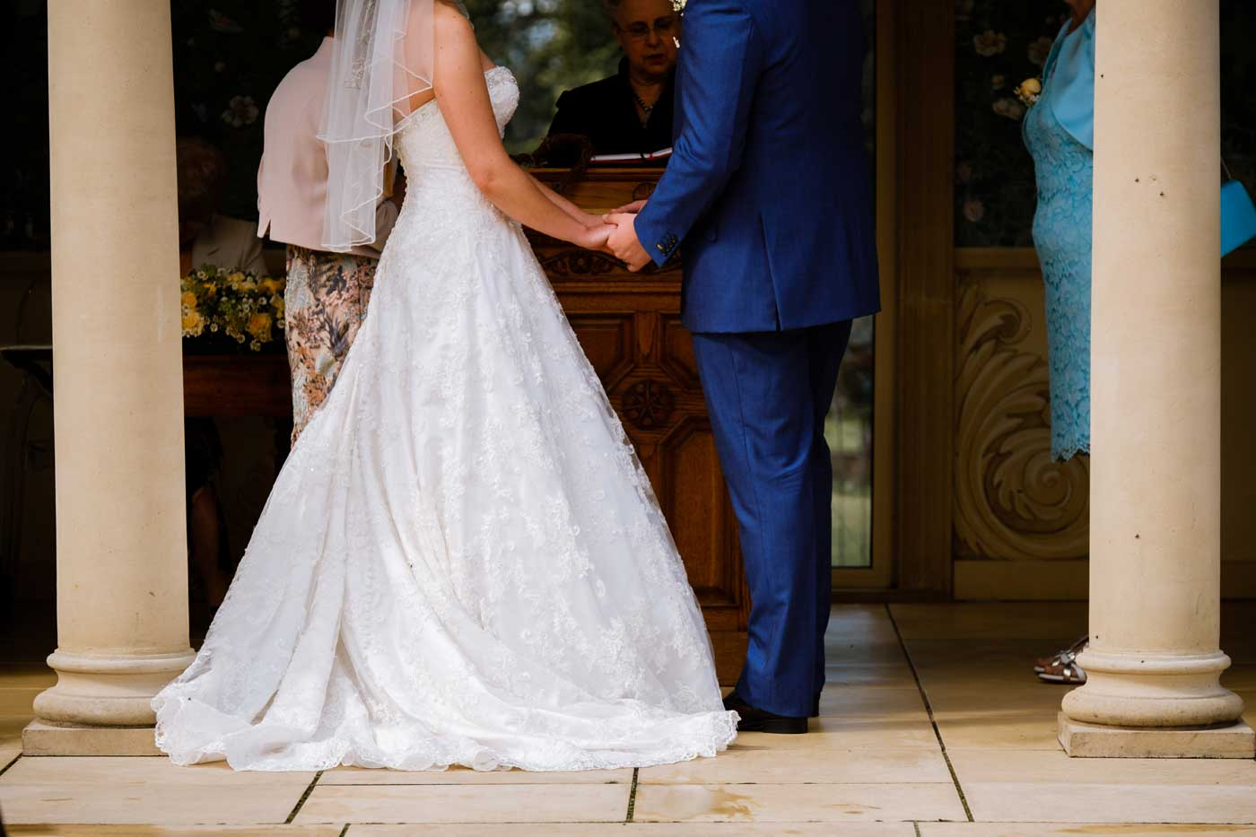 Close-up of bride and groom at The Linden Belvedere at Rowton Castle by documentary wedding photographer Clive Blair Photography