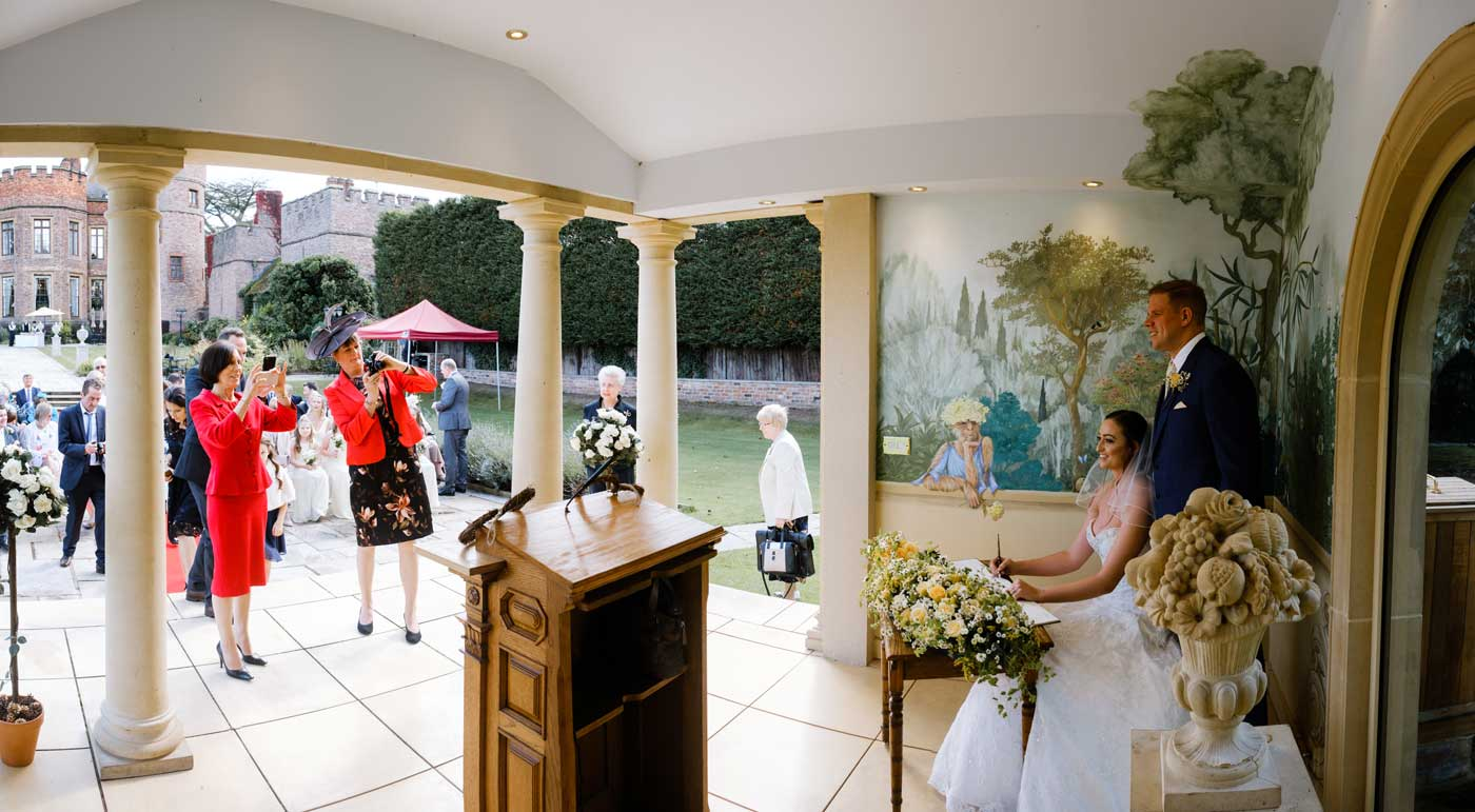 Bride and groom at The Linden Belvedere aftre thir wedding ceremony by Rowton Castle wedding photographer Clive Blair Photography