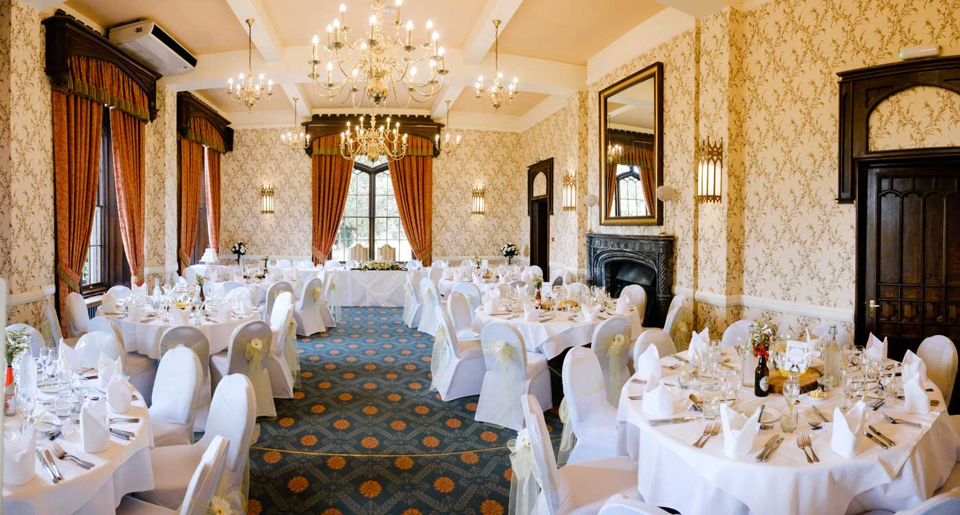 Wedding breakfast room layout at Rowton Castle