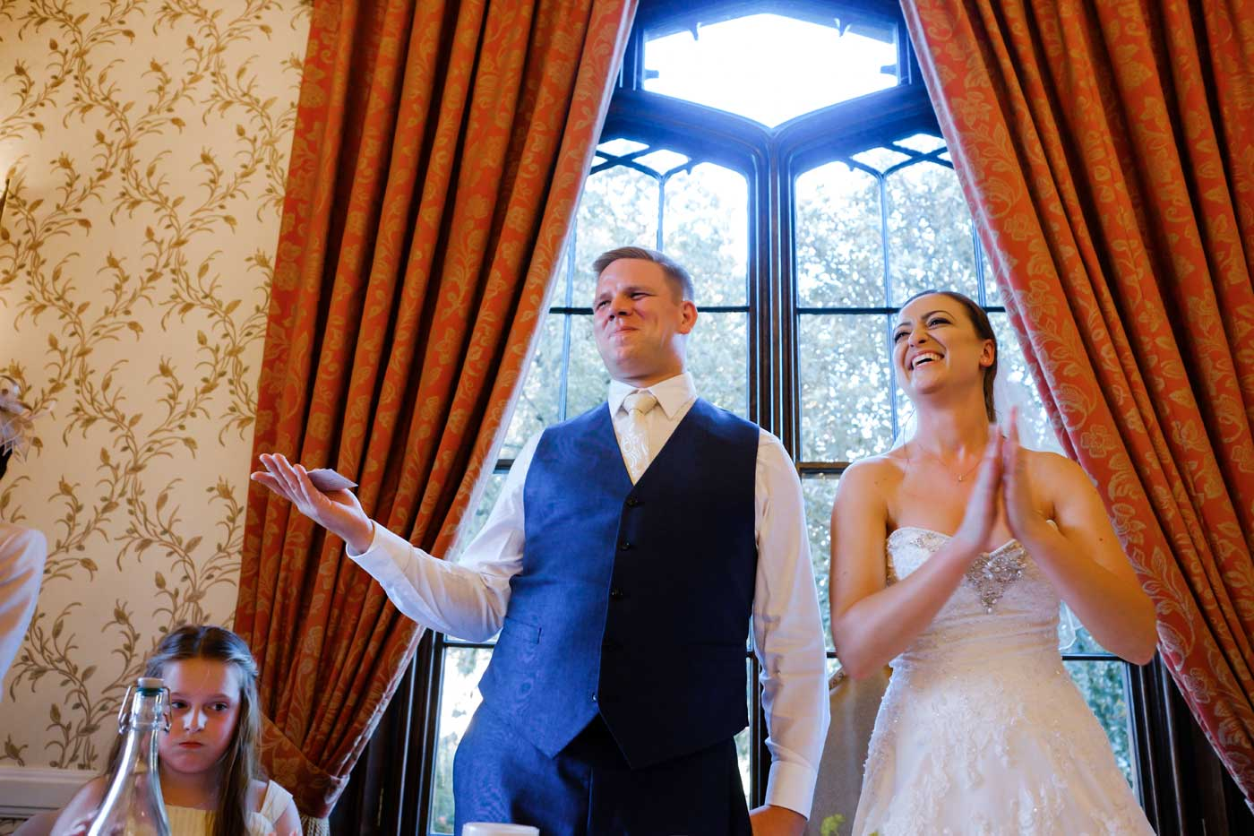 Bride and groom during their Rowton Castle wedding breakfast