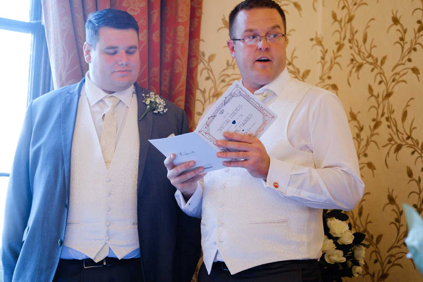 Bestman's speech by Rowton Castle wedding photographer Clive Blair Photography