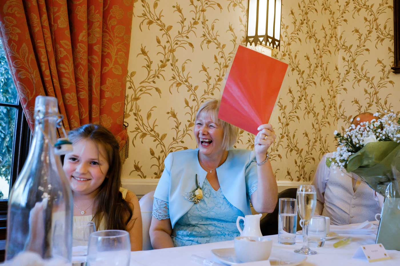 Mother of groom giving redcard to best man's risque speech