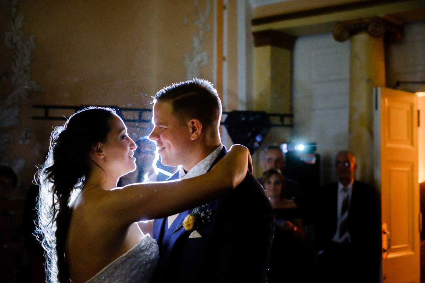 Bride and grom backlight during their Rowton Castle first dance