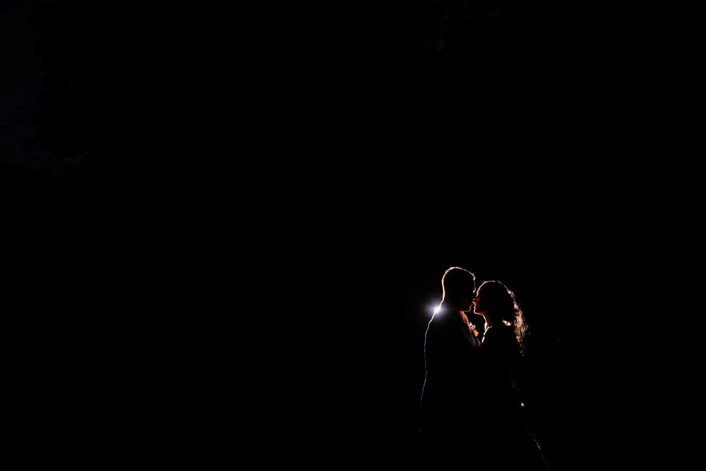 Silhouette of bride and groom at Rowton Castle