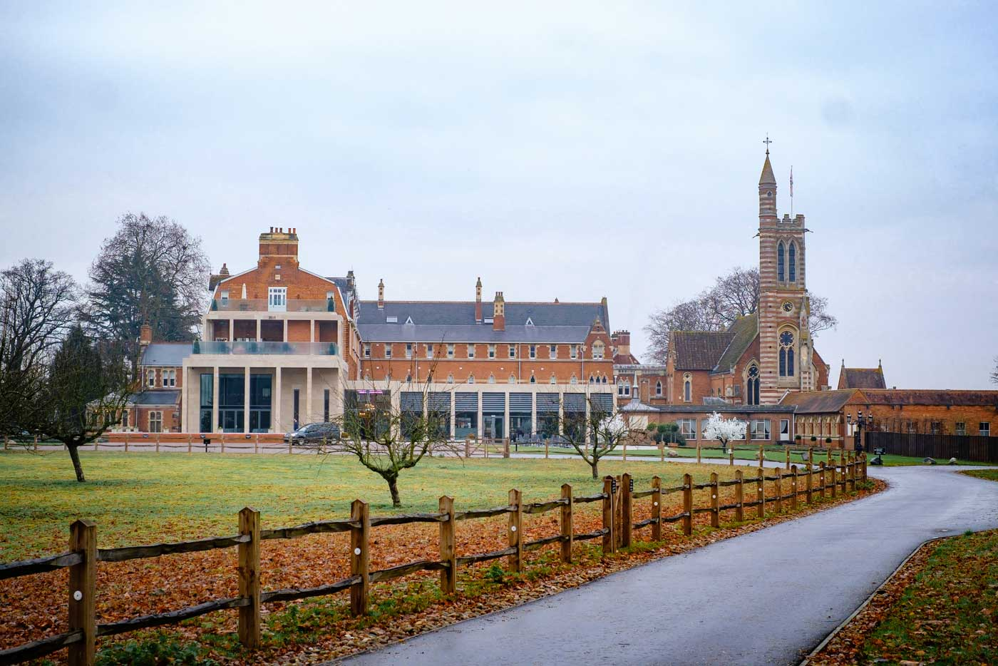 Outside view of Stanbrook Abbey during the winter