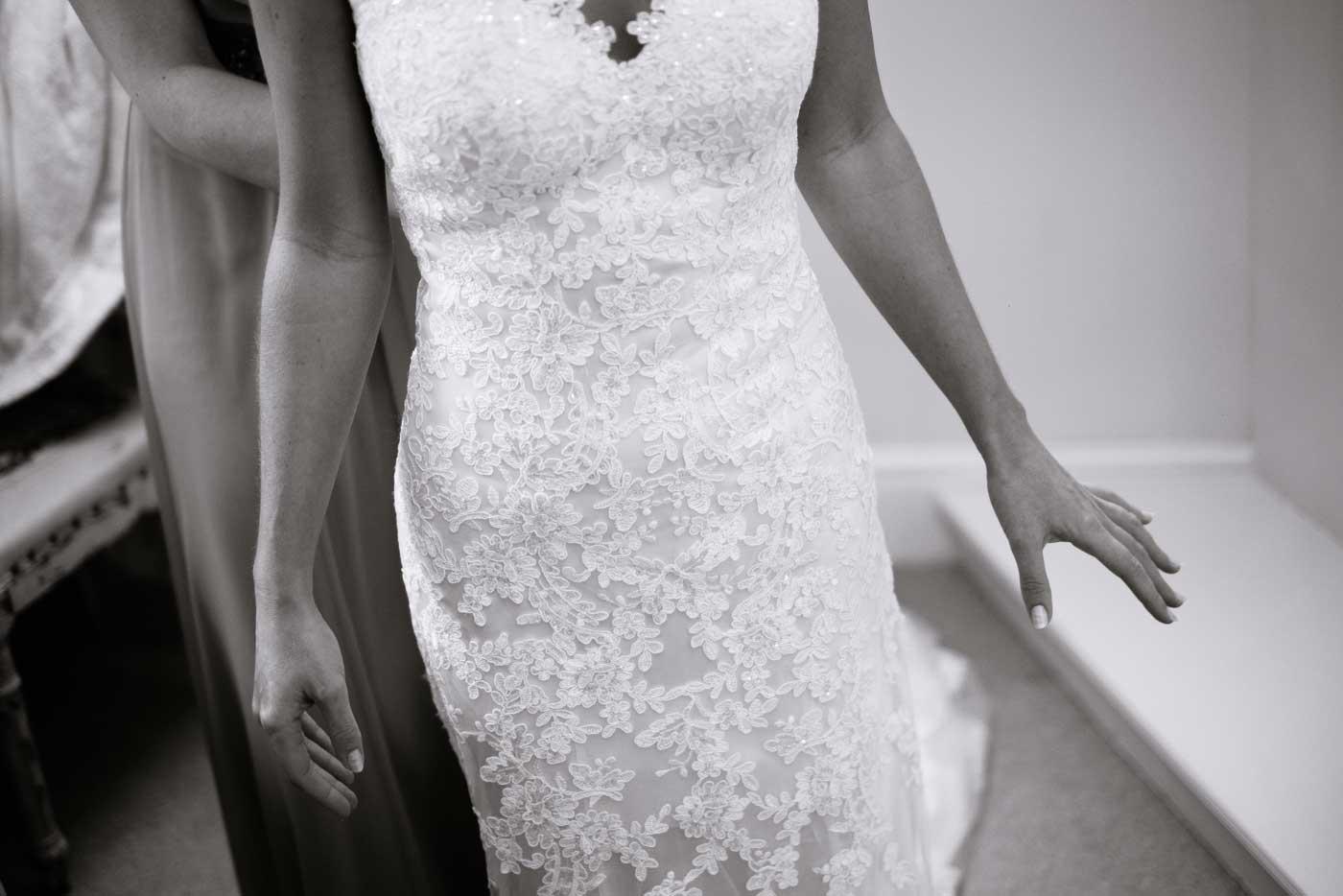Close-up of bride's dress