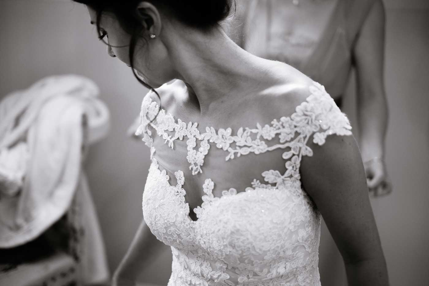 Detail on bride's dress