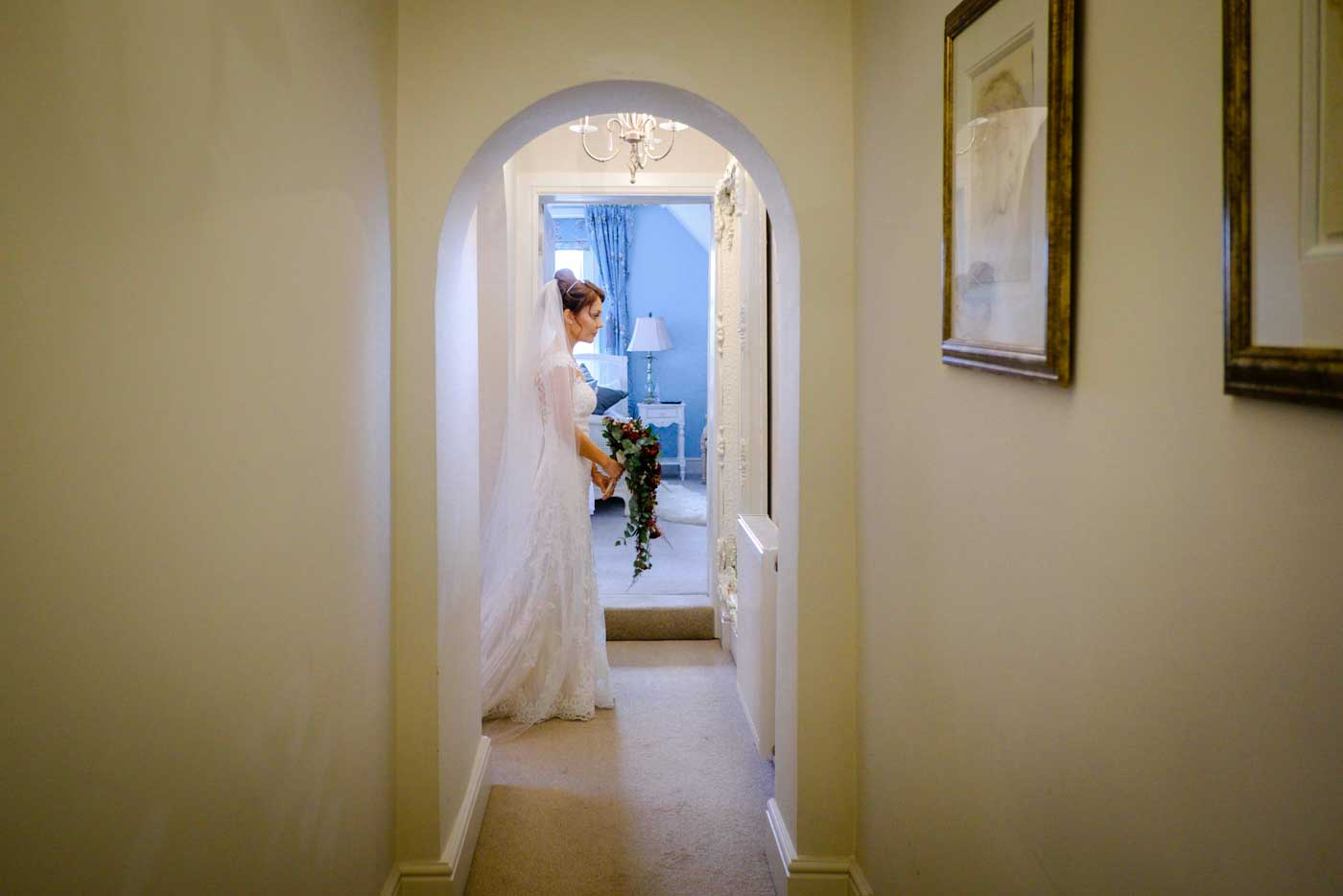 Bride ready to leave for her Stanbrook Abbey wedding