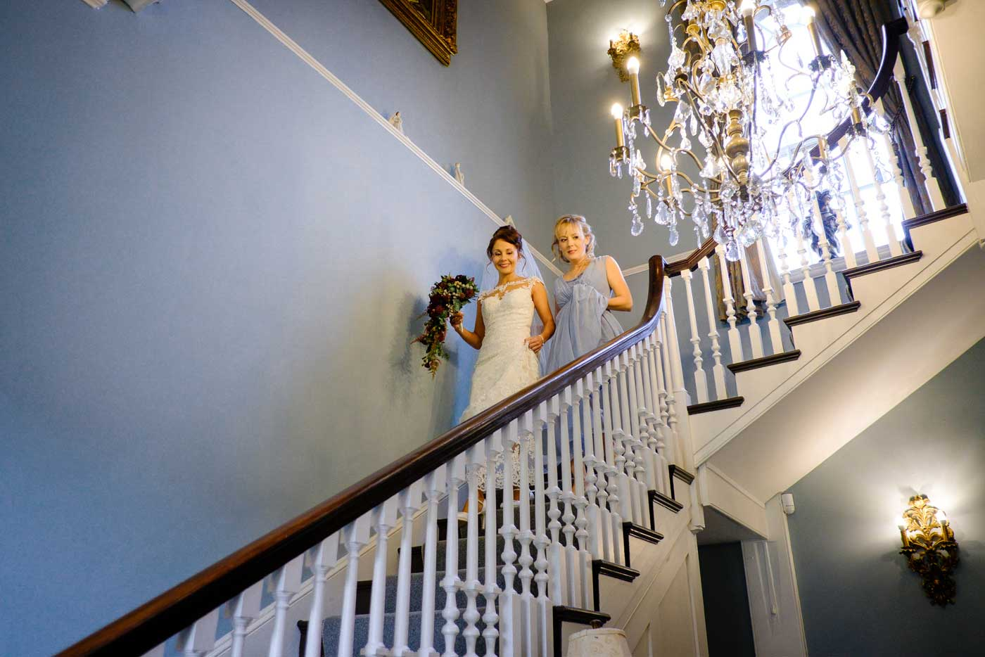 Bride decending the Stanbreook Abbey stairs