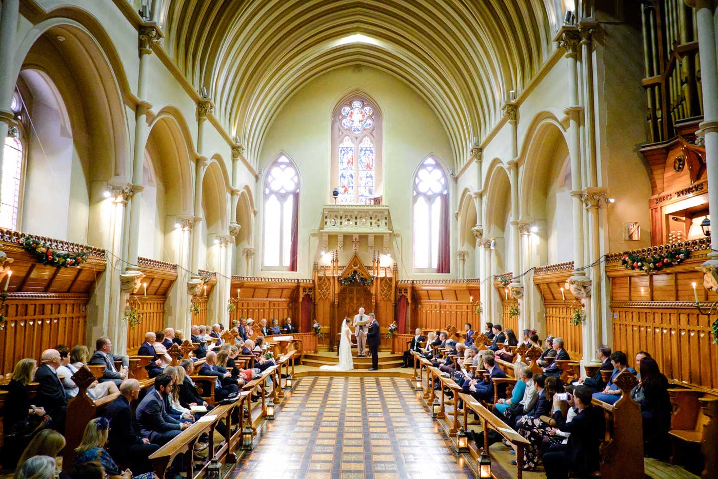 Wide view of The Callow Great Hall at Stanbrook Abbey by Stanbrook Abbey wedding photographer Clive Blair Photography