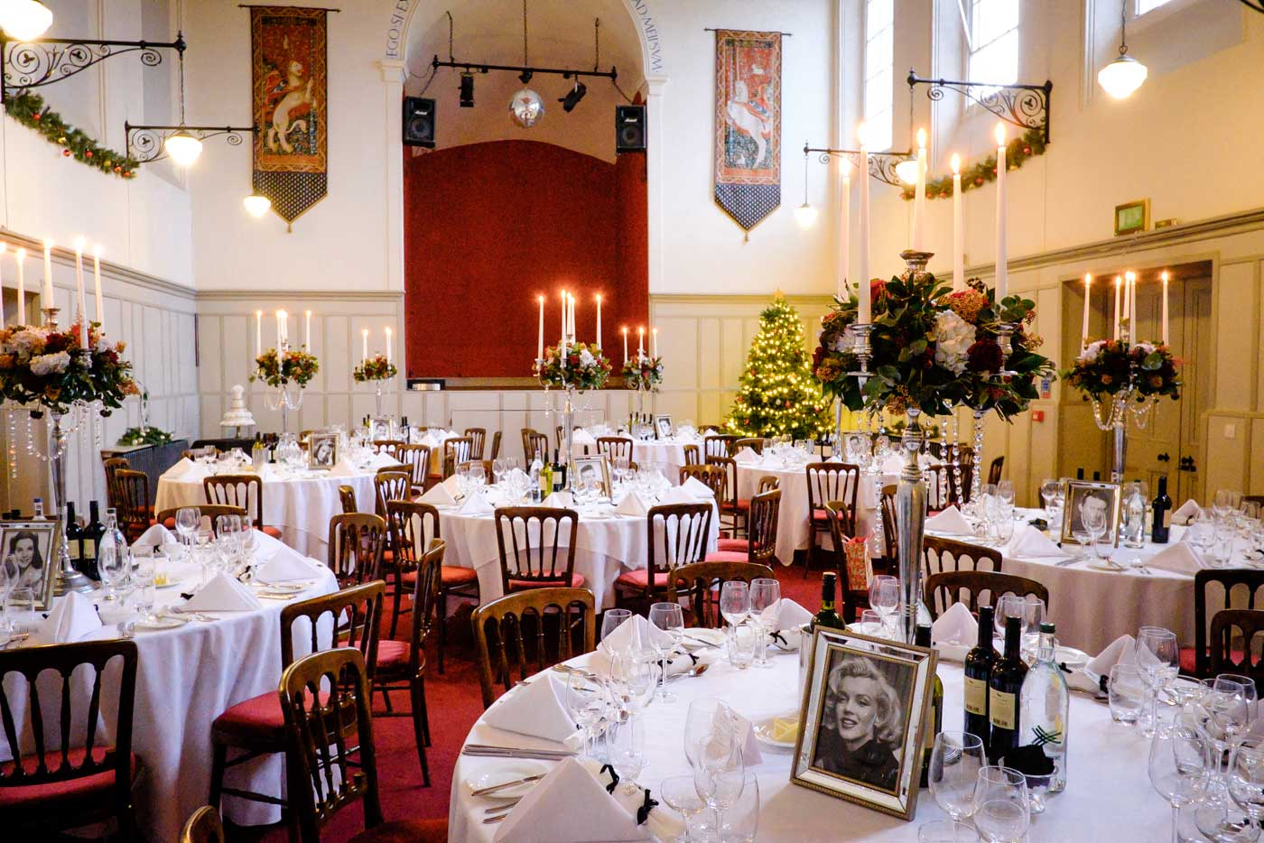 St Anne's Hall set up for a winter wedding by Stanbrook Abbey wedding photographer Clive Blair Photography
