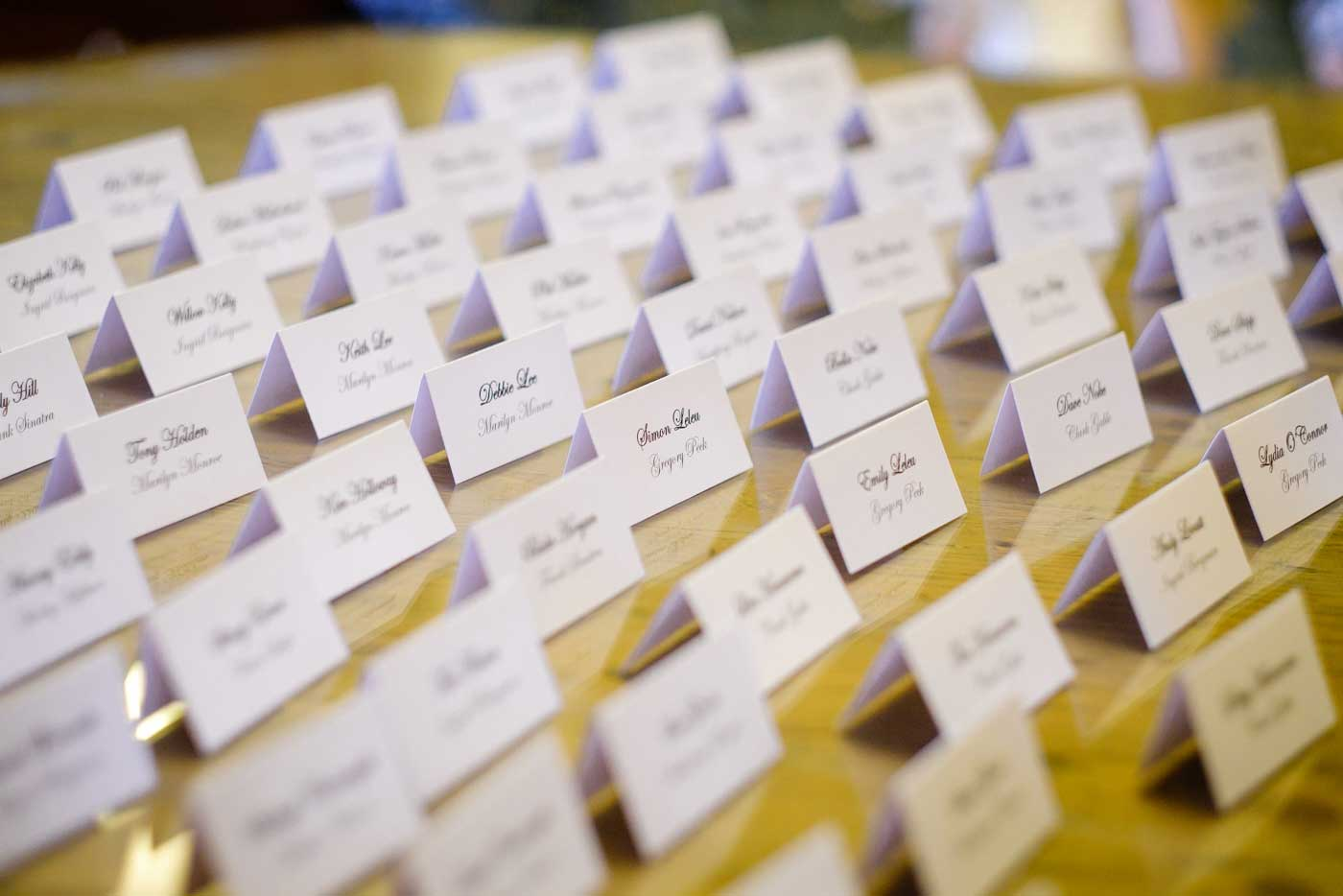 Guest's name places at Stanbrook Abbey