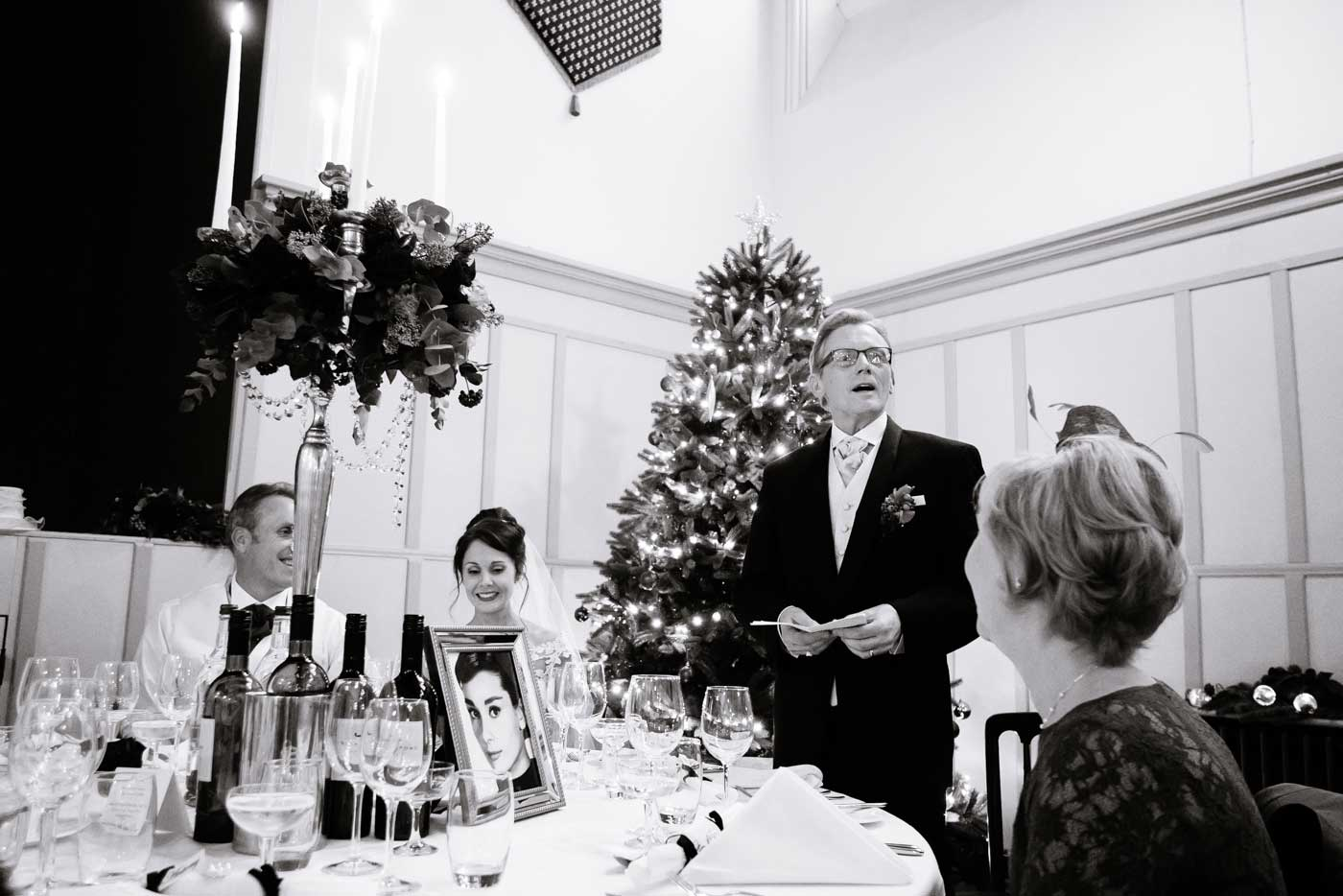 Father giving his wedding speech