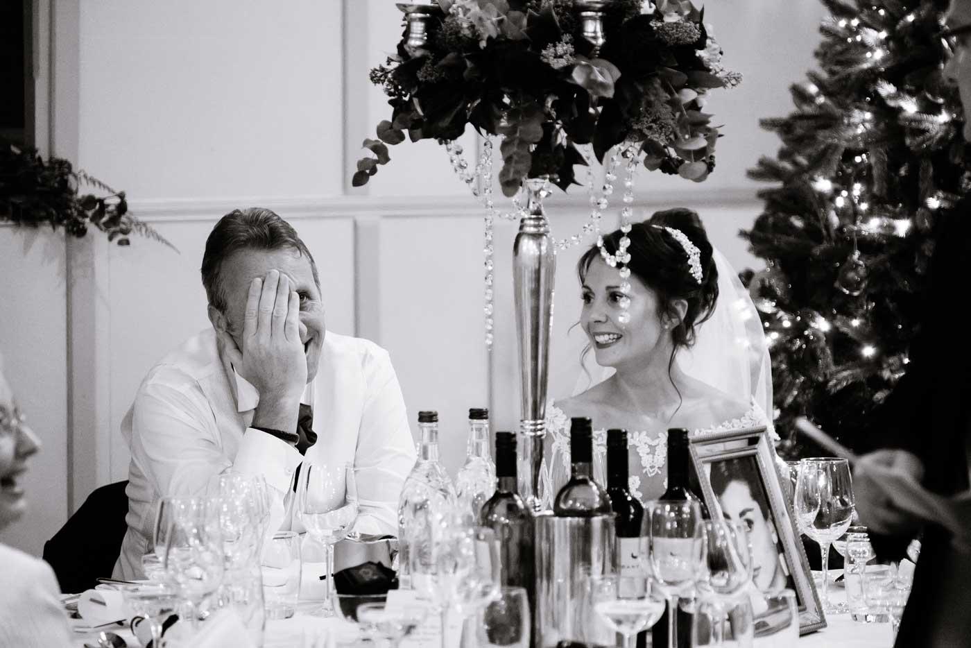 Embarrased groom during speech
