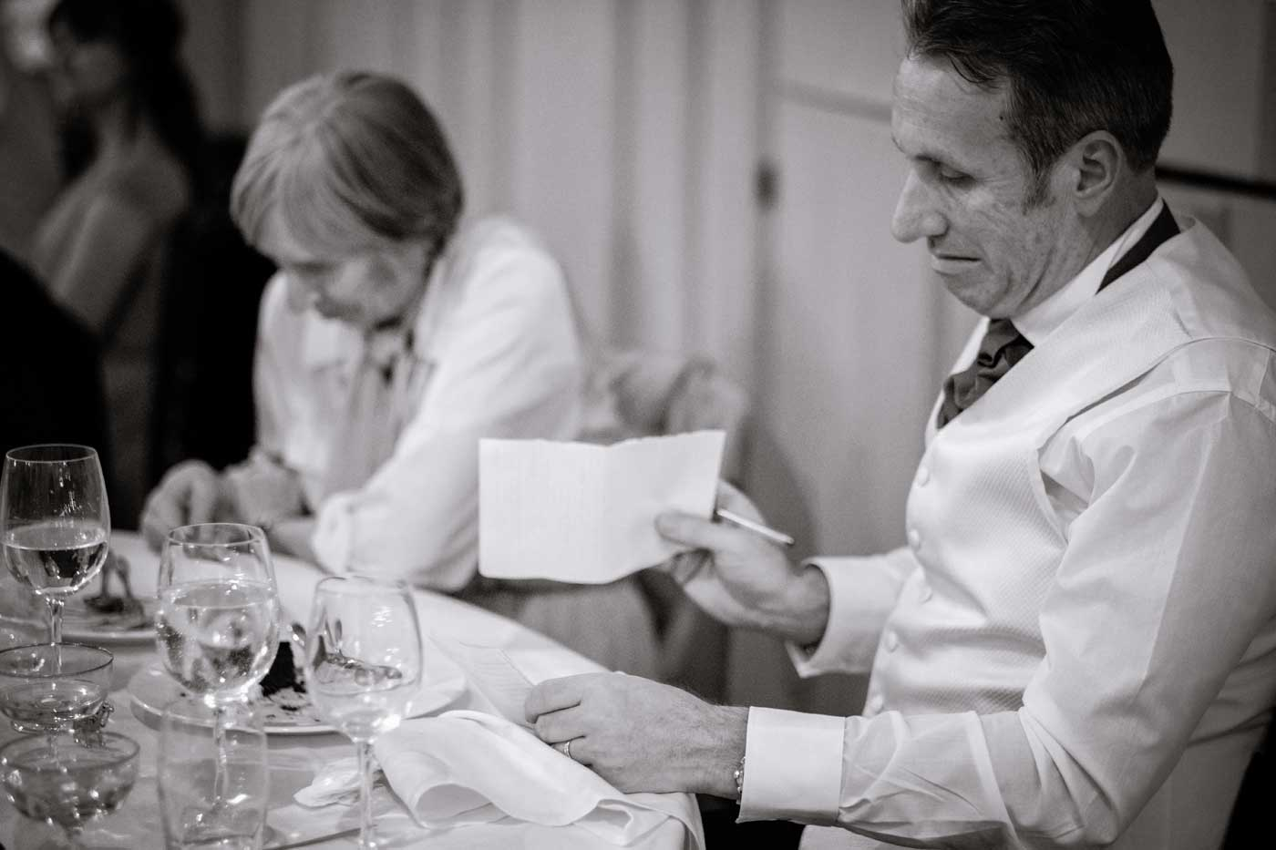 Groom preparing his speech by Stanbrook Abbey wedding photographer Clive Blair Photography