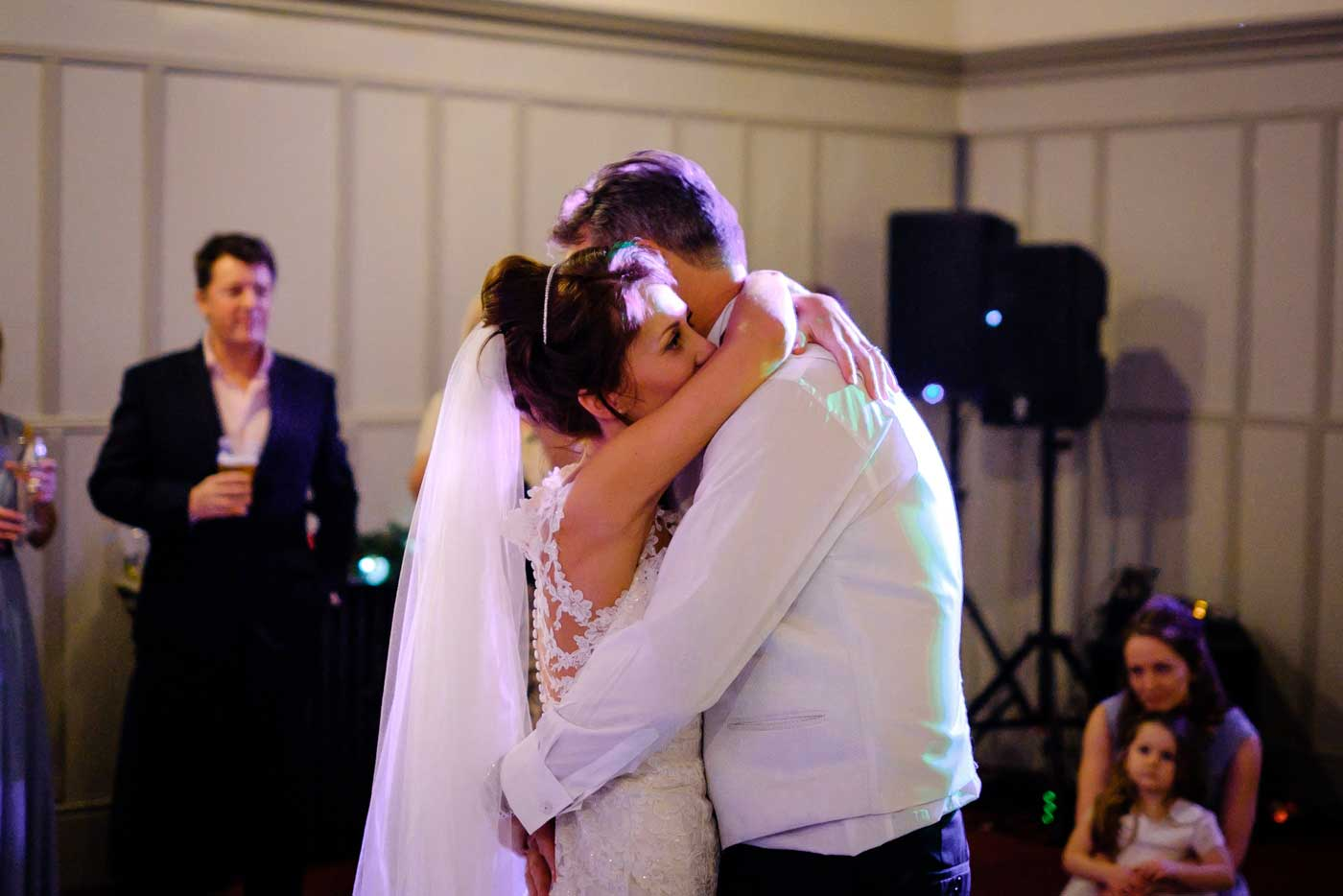 Bride and groom during their first dance by Stanbrook Abbey wedding photographer Clive Blair Photography