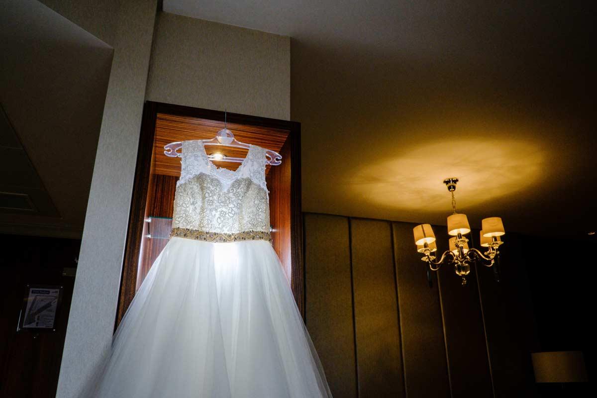 Bride's dress hanging up