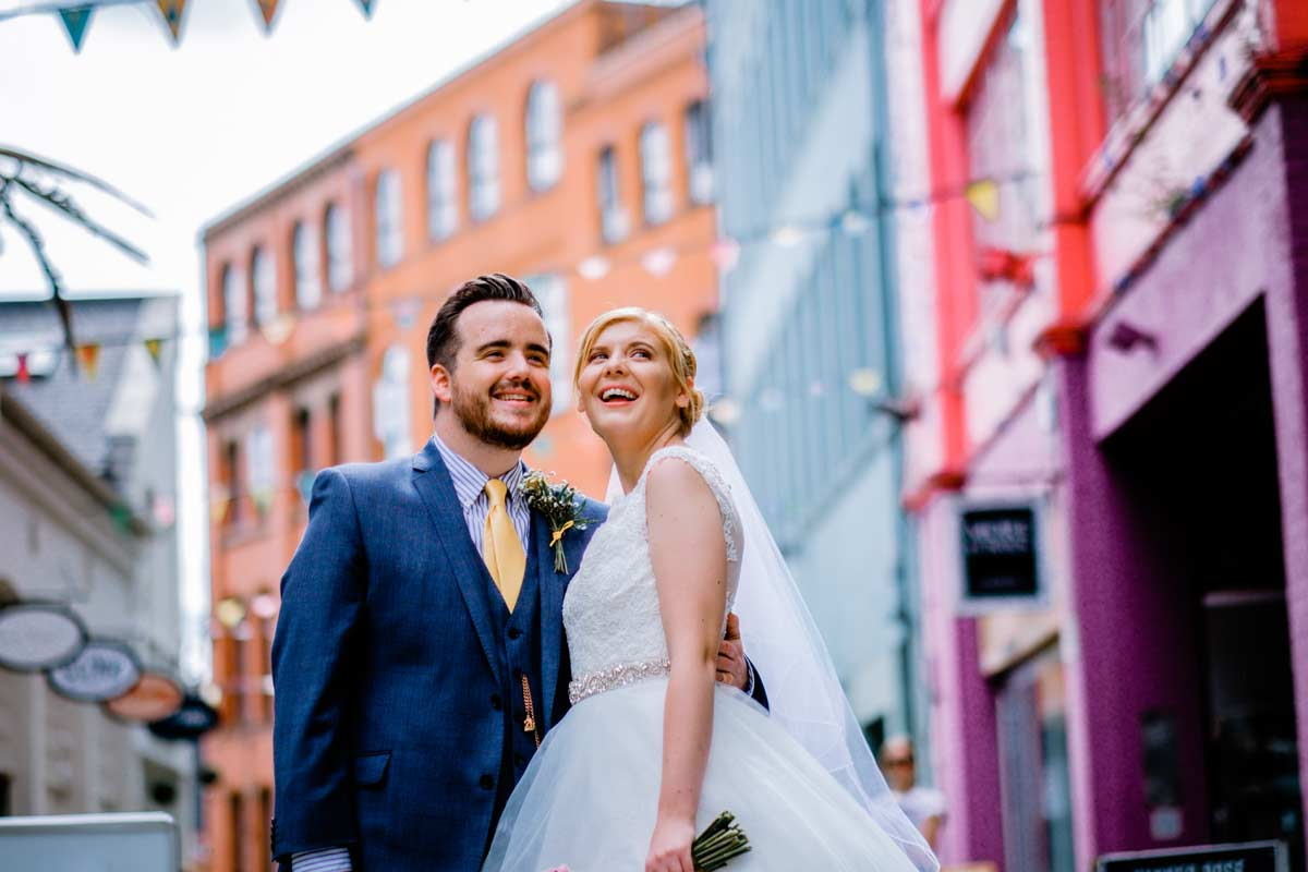 Groom and his bride in The Custard Factory