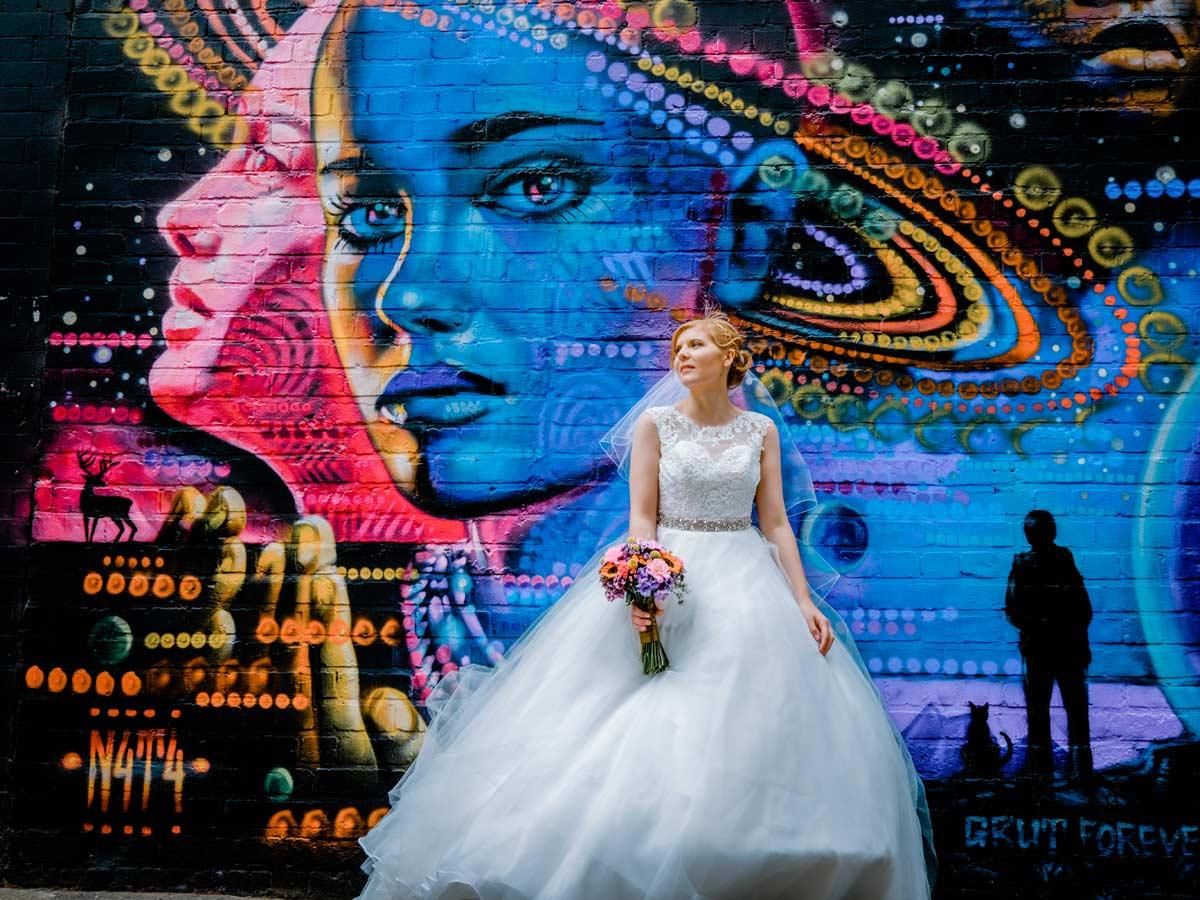 Bride by Custard factory graffiti wall