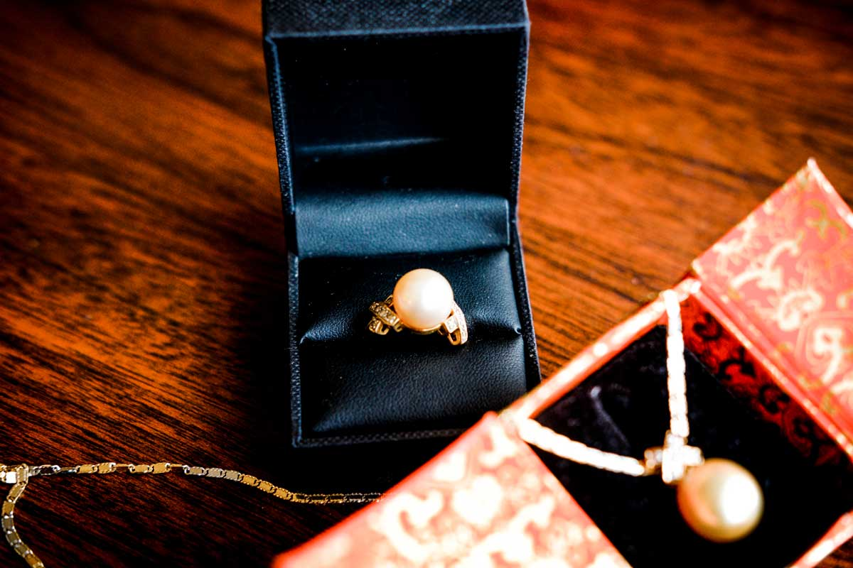 Pearl wedding ring and necklace