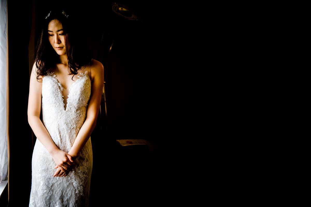 Pensive bride before her wedding