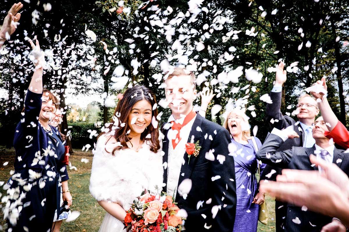 Sea of confetti on bride and groom