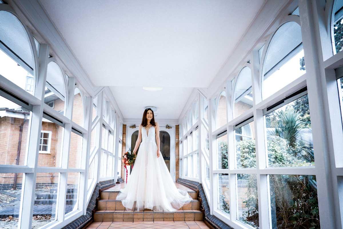Bride in hallway of The Regency Hotel Solihull